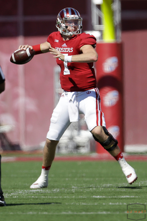 27 September 2014: Indiana Hoosiers quarterback Nate Sudfeld (7) as the Indiana Hoosiers played Maryland in a college football game in Bloomington, IN.