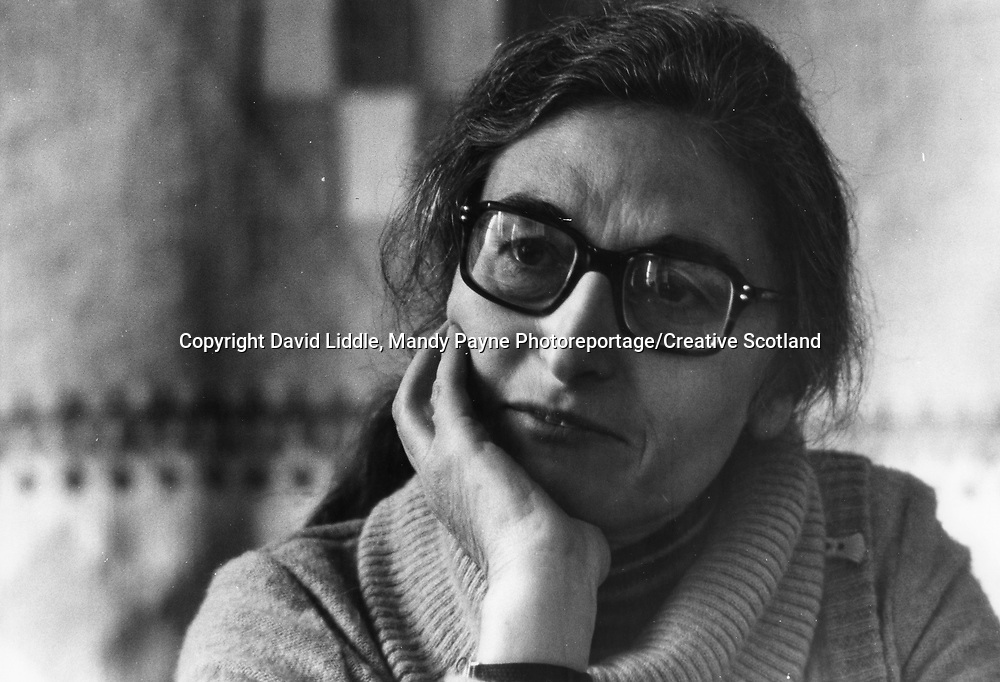 Ruth Prawer Jhabvala, who was awared the Neil Gunn International Fellowship in 1979<br /> Picture by David Liddle, Mandy Payne Photoreportage/Creative Scotland/Writer Pictures<br /> <br /> Picture from the Creative Scotland collection documenting 25 years of Scottish literary prizes and events.<br /> <br /> Writer Pictures does not and cannot claim the copyright for the images in this collection. <br /> <br /> However Writer Pictures will happily assist  where possible in the clearance of all necessary rights for editorial use of this image.<br /> <br /> If you are the copyright holder and would like to be properly accredited for the work and any associated royalties or you would like the images to be removed please get in touch.
