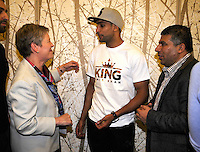 Dec 12,2012. Los Angeles CA. USA. (L) British consulate-general of Los Angeles Dame Barbara Hay talks with Amir Khan(C.) and his manger Asif Vali after the  press conference. The fight will be scene on ShowTime live from the Los Angeles Sports Arena. Photo by Gene Blevins/LA Daily News