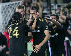 November 1, 2018 - Los Angeles, California, U.S - Danilo Silva #6 of the LAFC is congratulated by Lee Nguyen #24 during their MLS playoff game with the Real Salt Lake on Thursday November 1, 2018 at Banc of California Stadium in Los Angeles, California. LAFC vs Real Salt Lake. (Credit Image: © Prensa Internacional via ZUMA Wire)