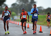 CAPE TOWN, SOUTH AFRICA - OCTOBER 10: Thando Lumkwana (240), Moeketsi Mamarama (243) and Sipho Mahlangu (241) in the mens 20km during the South African Race Walking Championship at Youngsfield Military Base on October 10, 2015 in Cape Town, South Africa. (Photo by Roger Sedres/ImageSA)
