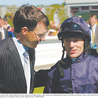 7 August 2005; Aidan O'Brien,Trainer, and Kieran Fallon, Jockey, after winning the Independent Waterford Wedgwood Phoenix Stakes with George Washington. Curragh Racecourse, Co. Kildare. Picture credit; Matt Browne / SPORTSFILE