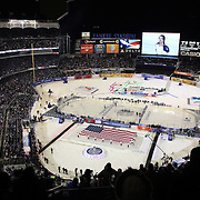 Grammy award winner Michelle Williams sings the National Anthem at Yankee Stadium before the New York Rangers Vs New York Islanders  NHL regular season game held outdoors at Yankee Stadium, The Bronx, New York, USA. 29th January 2014. Photo Tim Clayton