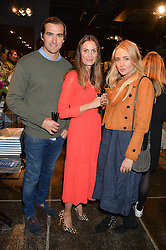 Left to right, ALEX & KATE KINDERSLEY and SOPHIE TAYLOR at a party to celebrate the publication of Flourish by Willow Crossley held at OKA, 155-167 Fulham Rd, London on 4th October 2016.