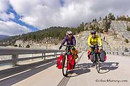 Bike touring across the Lake Koocanusa bridge in the Kootenai National Forest, Montana, USA model released