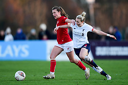 Charlie Wellings of Bristol City is challenged by Rhiannon Roberts of Liverpool Women - Mandatory by-line: Ryan Hiscott/JMP - 19/01/2020 - FOOTBALL - Stoke Gifford Stadium - Bristol, England - Bristol City Women v Liverpool Women - Barclays FA Women's Super League