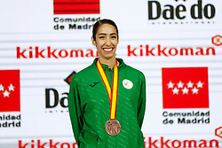 November 10, 2018 - Madrid, Madrid, Spain - Matoub Lamya (ALG) win the bronce medal and the third place of the tournament of Female Kumite -68 Kg during the Finals of Karate World Championship celebrates in Wizink Center, Madrid, Spain, on November 10th, 2018. (Credit Image: © AFP7 via ZUMA Wire)