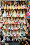 Woollen slippers footwear display, Rhodes, Greece