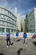 Orlando, Florida, USA, 20090325:   The Disney Hollywood Studios in Orlando. French tourists walking in the movie set recreation of New York City. Photo: Orjan F. Ellingvag/ Dagbladet/ Corbis