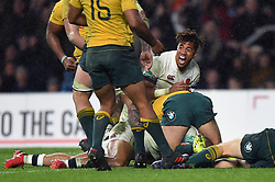 Anthony Watson of England celebrates a try from team-mate Jonathan Joseph- Mandatory byline: Patrick Khachfe/JMP - 07966 386802 - 18/11/2017 - RUGBY UNION - Twickenham Stadium - London, England - England v Australia - Old Mutual Wealth Series International