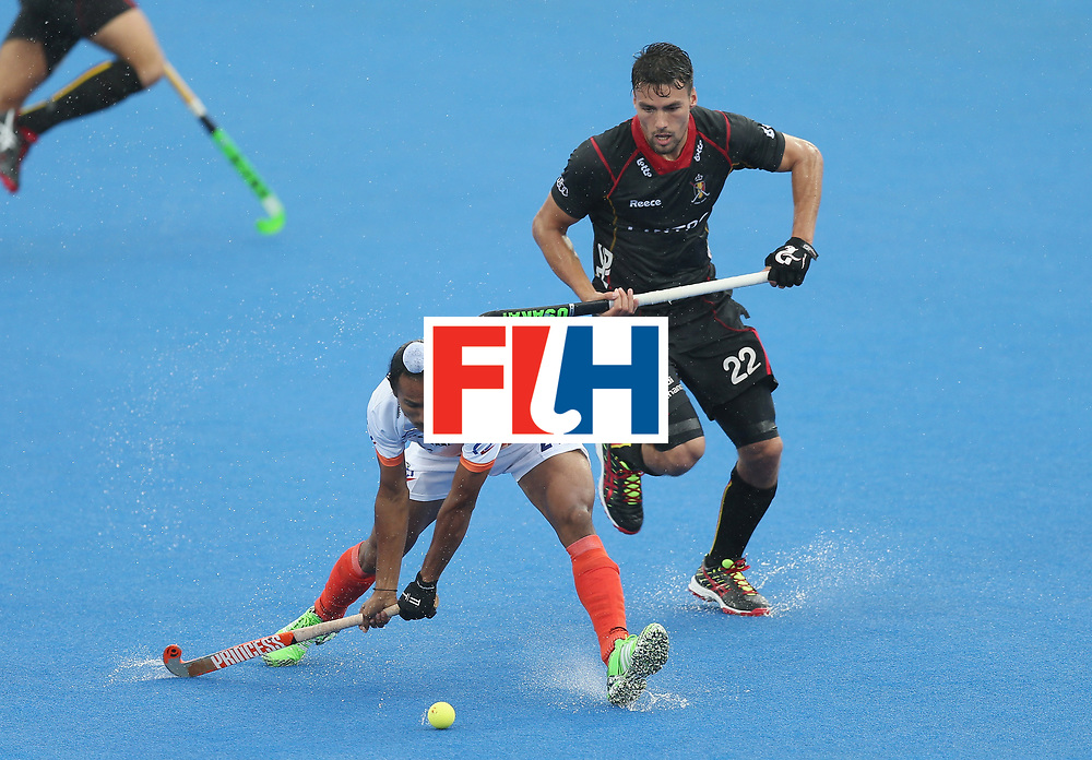 LONDON, ENGLAND - JUNE 13: Harjeet Singh of India and Simon Gougnard of Belgium during the FIH Mens Hero Hockey Champions Trophy match between Belgium and India at Queen Elizabeth Olympic Park on June 13, 2016 in London, England.  (Photo by Alex Morton/Getty Images)