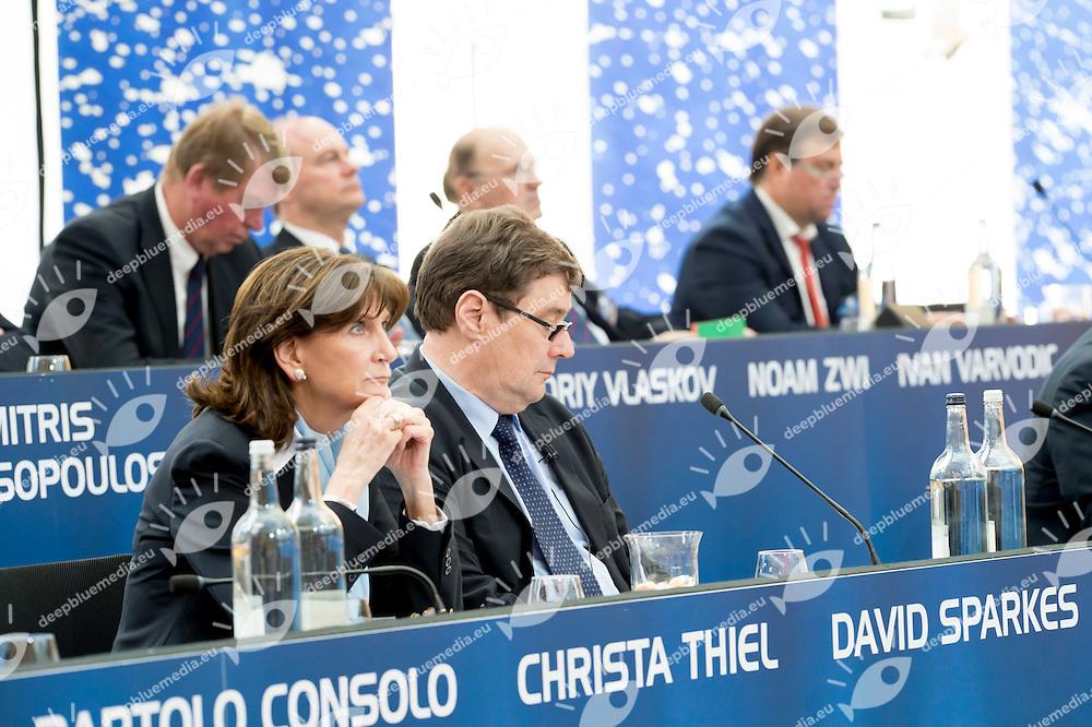 Christa Thiel and David Sparkes<br /> LEN 2016 Extraordinary Congress<br /> London, East Winter Garden, Canary Wharf<br /> Day 0 08-05-2016<br /> Photo Giorgio Scala/Deepbluemedia/Insidefoto