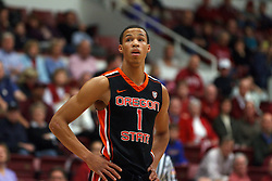 Feb 16, 2012; Stanford CA, USA; Oregon State Beavers guard Jared Cunningham (1) during a stoppage in play against the Stanford Cardinal during the first half at Maples Pavilion. Stanford defeated Oregon State 87-82. Mandatory Credit: Jason O. Watson-US PRESSWIRE