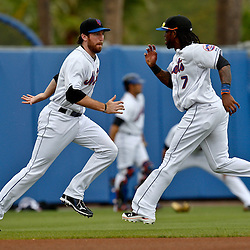 March 6, 2011; Port St. Lucie, FL, USA; New York Mets first baseman Ike Davis (29) and shortstop Jose Reyes (7) workout before a spring training exhibition game against the Boston Red Sox at Digital Domain Park. Mandatory Credit: Derick E. Hingle