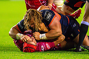 Pierre Schoeman (#1) of Edinburgh Rugby and Juandre Kruger (#5) of Scarlets get involved in a scuffle with each other during the Guinness Pro 14 2019_20 match between Edinburgh Rugby and Scarlets at BT Murrayfield Stadium, Edinburgh, Scotland on 26 October 2019.