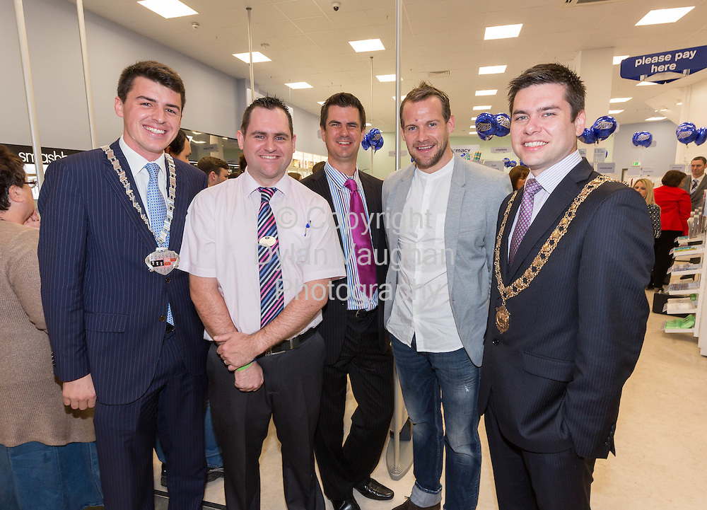 Repro free No Charge for Repro<br /> 1-10-14<br /> <br />  <br /> Pictured at the official opening of the new Boots store at Mac Donagh Junction Shopping Centre in Kilkenny on the 1st of October was  from left Cllr. Patrick McKee Leas Cathaoirleach, Store Manger John Paul Walsh, Richard Bradley Managing Director, Boots Ireland, All Ireland Kilkenny hurler Jackie Tyrrell and Mayor of Kilkenny Cllr. Andrew McGuinness.<br /> <br /> <br /> <br /> <br /> Picture Dylan Vaughan