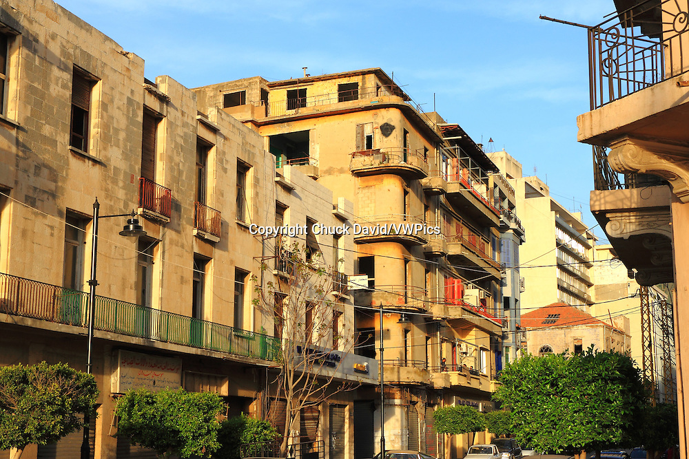 The Old Town district of Beirut is gradually undergoing revitalization as buildings are restored, Lebanon.