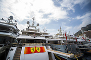 May 21, 2014: Monaco Grand Prix: Yachts in Monaco harbor