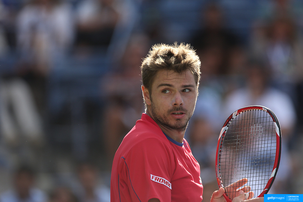 Stanislas Wawrinka, Switzerland, in action during his victory over Andy Murray, Great Britain, during the Men's Singles Quarterfinal competition at the US Open. Flushing. New York, USA. 5th September 2013. Photo Tim Clayton