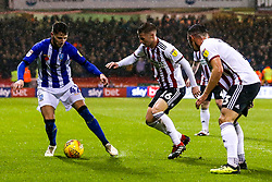 Matt Penney of Sheffield Wednesday takes on Oliver Norwood of Sheffield United and Enda Stevens of Sheffield United  - Mandatory by-line: Robbie Stephenson/JMP - 09/11/2018 - FOOTBALL - Bramall Lane - Sheffield, England - Sheffield United v Sheffield Wednesday - Sky Bet Championship