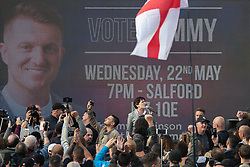 © Licensed to London News Pictures . 22/05/2019. Salford, UK. For Britain party leader and former UKIP member ANNE MARIE WATERS speaks at the rally . Former EDL leader Stephen Yaxley-Lennon (aka Tommy Robinson ) holds a campaign rally at the derelict Mocha Parade shopping precinct in Salford , opposed by anti-fascists . Yaxley-Lennon is running for a seat in the European Parliament representing the North West of England . Photo credit: Joel Goodman/LNP