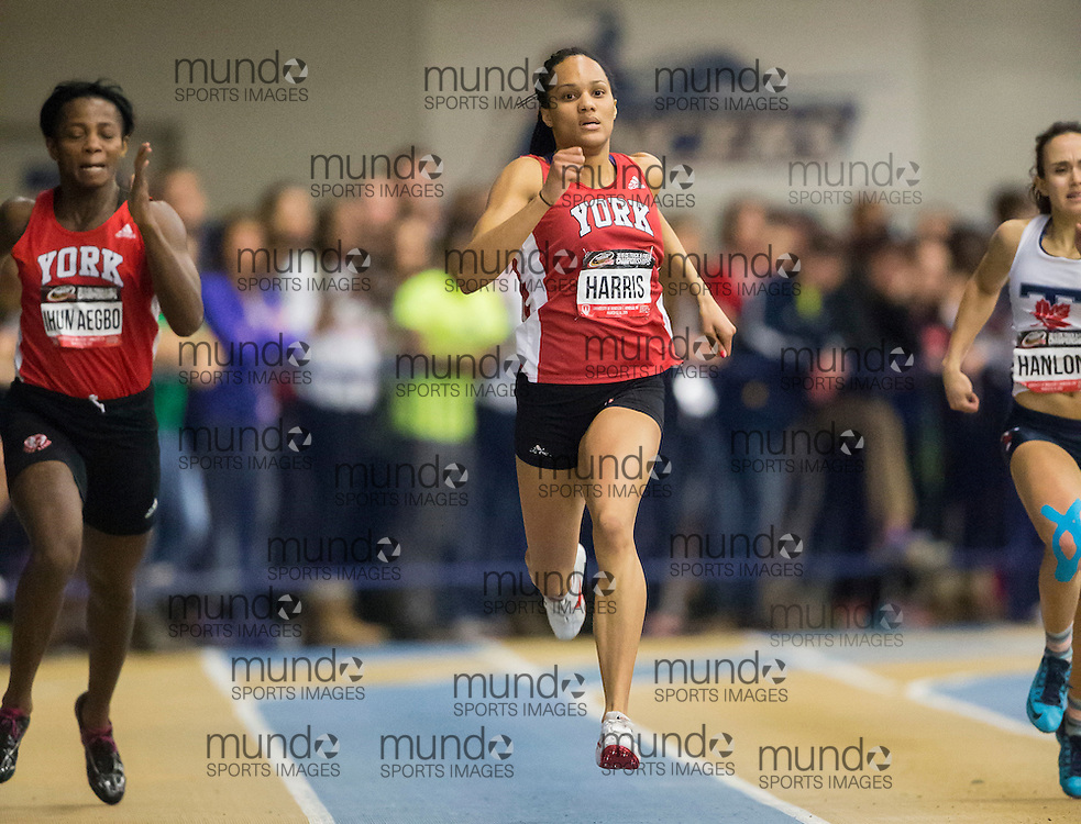 Windsor, Ontario ---2015-03-13--- Sheereen Harris of York runs to win the 300m at the 2015 CIS Track and Field Championships in Windsor, Ontario, March 13, 2015.<br /> GEOFF ROBINS/ Mundo Sport Images