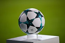 MARIBOR, SLOVENIA - Tuesday, October 17, 2017: An adidas match ball on a plinth before the UEFA Champions League Group E match between NK Maribor and Liverpool at the Stadion Ljudski vrt. (Pic by David Rawcliffe/Propaganda)