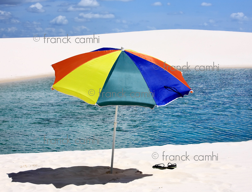 umbrella beach at lagoa azul in the Lencois Maranheses National Park brazil
