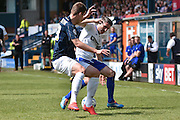 Bury Forward, Ryan Lowe and Southend United On Loan Defender, Piotr Malarczyk during the Sky Bet League 1 match between Bury and Southend United at the JD Stadium, Bury, England on 8 May 2016. Photo by Mark Pollitt.