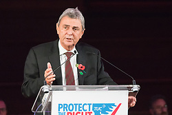 November 2nd 2015. Westminster Hall, London, UK. Unison General Secretary Dave Prentis addresses a rally at Westminster Central Hall as unionists lobby Parliament on the Trade Union Bill, designed to curb industrial action.  // Licencing Contact: paul@pauldaveycreative.co.uk Mobile 07966 016 296