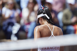 April 21, 2018 - La Manga, Murcia, Spain - Veronica Cepede Royg of Paraguay reacts in his match against  Carla Suarez Navarro of Spain during day one of the Fedcup World Group II Play-offs match between Spain and Paraguay at Centro de Tenis La Manga Club on April 21, 2018 in La Manga, Spain  (Credit Image: © David Aliaga/NurPhoto via ZUMA Press)