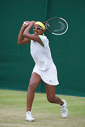LONDON, ENGLAND - Monday, June 27, 2011: Victoria Duval (USA) in action during the Girls' Singles 1st Round match on day seven of the Wimbledon Lawn Tennis Championships at the All England Lawn Tennis and Croquet Club. (Pic by David Rawcliffe/Propaganda)
