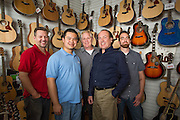 Allegro Music's team, from left to right, Joel Ryan, Cody Ng, Gabe Eaton, Clarence Berry, and Brian Hart pose for a portrait at Allegro Music in Fremont, California, on April 16, 2014. (Stan Olszewski/SOSKIphoto)