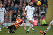 Josh Cullen (Bradford City) clears the ball downfield under pressure from Liam Trotter (Bolton Wanderers) during the EFL Sky Bet League 1 match between Bradford City and Bolton Wanderers at the Coral Windows Stadium, Bradford, England on 18 February 2017. Photo by Mark P Doherty.