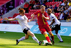 LLANELLI, WALES - Thursday, August 22, 2013: Wales' Hannah Keryakoplis in action against England during the Group A match of the UEFA Women's Under-19 Championship Wales 2013 tournament at Parc y Scarlets. (Pic by David Rawcliffe/Propaganda)