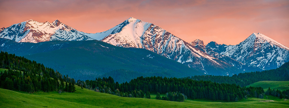 Spanish Peaks in the spring during the sunset in Montana. Limited Edition - 75