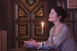 "© Licensed to London News Pictures. 14 January 2014. London, England. Pictured: GEMMA ARTERTON as The Duchess. Actress Gemma Arterton stars as the Duchess in the play ""The Duchess of Malfi"" by John Webster. This is the first production to take place at the Sam Wanamaker Playhouse at the Globe Theatre. The performance is only lit by candles. Directed by Dominic Dromgoole. Photo credit: Bettina Strenske/LNP"