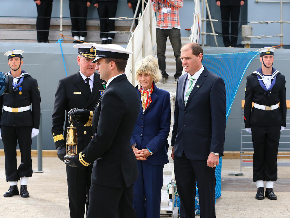 22/06/2013. Free To Use Image. JFK50 Celebrations at New Ross, Co Wexford. Pictured after leaving The LE ORLA is Former Ambassador Jean Kennedy Smith after passing over the Eternal flame to Lte. Chris Morgan. Also in photo is Commodore Mark Mellettt flag officer naval services and Paul Kehoe TD. Picture Patrick Browne