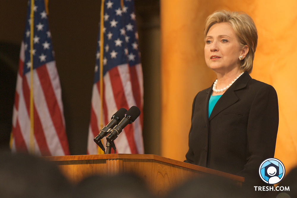 U.S. Senator Hillary Clinton speaks to supporters while conceding the race for the Democratic party's nomination for President of the United States of America to Barack Obama at the National Building Museum in Washington, D.C., Saturday, June 7, 2008. .
