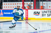 REGINA, SK - MAY 21: Sahvan Khaira #6 of Swift Current Broncos warms up against the Hamilton Bulldogs at the Brandt Centre on May 21, 2018 in Regina, Canada. (Photo by Marissa Baecker/CHL Images)