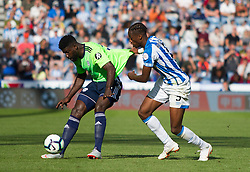 Bruno Ecuele Manga of Cardiff City (L) and Terence Kongolo of Huddersfield Town in action - Mandatory by-line: Jack Phillips/JMP - 25/08/2018 - FOOTBALL - The John Smith's Stadium - Huddersfield, England - Huddersfield Town v Cardiff City - English Premier League