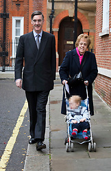© Licensed to London News Pictures. 16/11/2018. London, UK.  Conservative MP, Jacob Rees-Mogg with his nanny, Veronica Crook and his son leaving his central London home this morning.  Photo credit: Vickie Flores/LNP