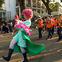 "The Krewe do Kraft, with the 2009 theme ""Alice in Craftyland,"" marches in the Box of Wine walking parade in between the Krewes of Thoth and Bacchus on the Sunday before Mardis Gras. The parade began on the  corner of 2nd and Dryades, marched to St. Charles Avenue, and up to Clio Street. The Krewe celebrates the arrival of Bacchus, the god of wine, by serving boxed wine to the crowds. New Orleans, Louisiana, USA."