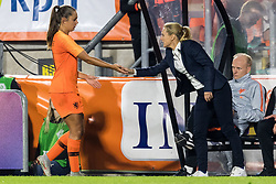 Coach Sarina Wiegman of the Netherlands women thanks Lieke Martens of The Netherlands women during the FIFA Women's World Cup 2019 play off first leg qualifying match between The Netherlands and Denmark at the Rat Verlegh stadium on October 05, 2018 in Breda, The Netherlands