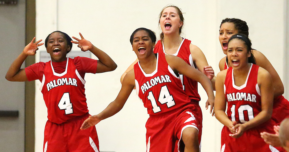 The Palomar Comets bench celebrates a point during a game against the Santa Ana Dons at Santa Ana College on Thursday, Nov. 6, 2014. The Comets defeated the Dons 99-47. (Timothy Tai/Sports Shooter Academy XI)
