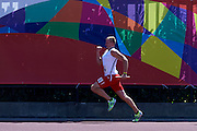 SO Poland athlete Radoslaw Juszkiewicz competes at athletics relay 4 x 100 meters during eighth day of the Special Olympics World Games Los Angeles 2015 on August 1, 2015 at Loker Stadium on USC (University of Southern California) in Los Angeles, USA.<br /> USA, Los Angeles, August 1, 2015<br /> <br /> Picture also available in RAW (NEF) or TIFF format on special request.<br /> <br /> For editorial use only. Any commercial or promotional use requires permission.<br /> <br /> Adam Nurkiewicz declares that he has no rights to the image of people at the photographs of his authorship.<br /> <br /> Mandatory credit:<br /> Photo by &copy; Adam Nurkiewicz / Mediasport