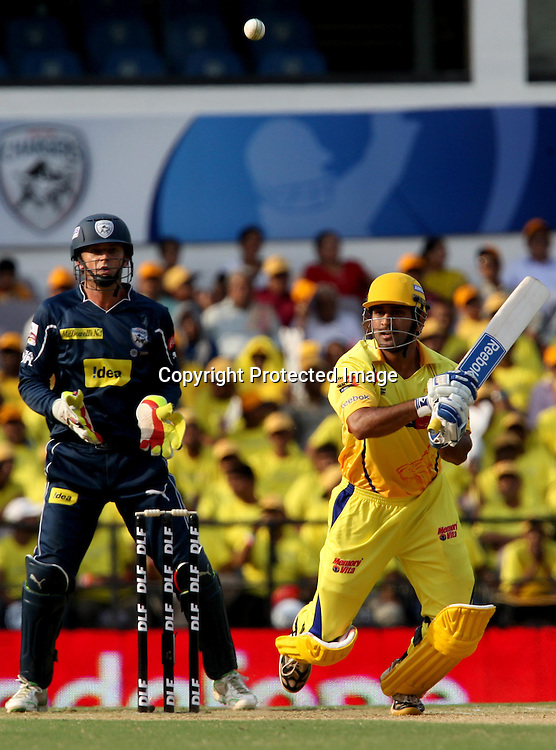 Chennai Super Kings Batsman MS Dhoni Hit The Shot Against Deccan Chargers  During The Indian Premier League - 42nd match Twenty20 match  2009/10 season Played at Vidarbha Cricket Association Stadium, Jamtha, Nagpur 10 April 2010 - day/night (20-over match)