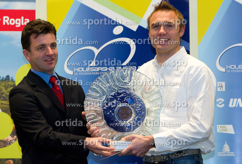 Ales Kalan and Uros Murn of UCI Continental Adria Mobil best cycling club during the Slovenia's Cyclist of the year award ceremony by Slovenian Cycling Federation KZS, on December 11, 2010 in Hotel Mons, Ljubljana, Slovenia. (Photo By Vid Ponikvar / Sportida.com)