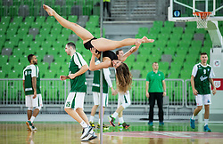 Pole dance performer of Mademoiselle plesni studio during basketball match between KK Union Olimpija Ljubljana and Ewe Baskets Oldenburg (GER) in Round #5 of EuroCup 2015/16, on November 11, 2015 in Arena Stozice, Ljubljana, Slovenia. Photo by Vid Ponikvar / Sportida