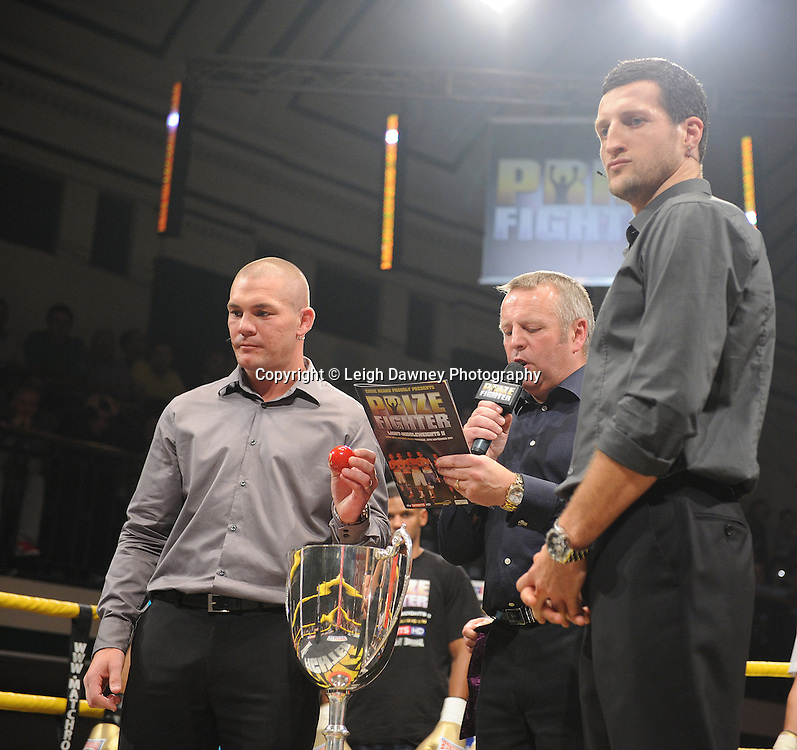 Jamie Moore (left) and Carl Froch draw the names for Prizefighter - The Light Middleweights II. York Hall, Bethnal Green, London, UK. 15th September 2011. Photo credit: © Leigh Dawney.
